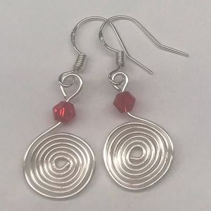 Jewelry - Silver Swirl Earrings Red Beaded Accent